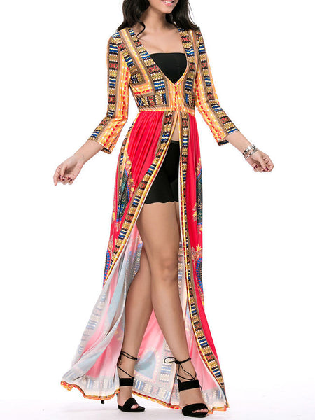 High Slit Deep V-Neck Maxi Dress In Tribal Printed - Bychicstyle.com