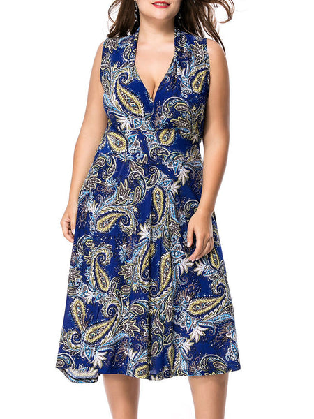 Sexy Deep V-Neck Plus Size Flared Dress In Paisley Printed - Bychicstyle.com