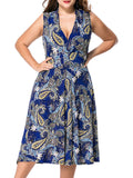 ByChicStyle Sexy Deep V-Neck Plus Size Flared Dress In Paisley Printed - Bychicstyle.com