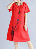 ByChicStyle Casual Embroidery Round Neck Pocket Shift Dress