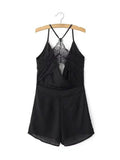 ByChicStyle Casual Y-Back Spaghetti Strap Pocket Back Hole Solid Romper In Black