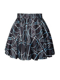 ByChicStyle Casual Elastic Waist Printed Designed Flared Mini Skirt