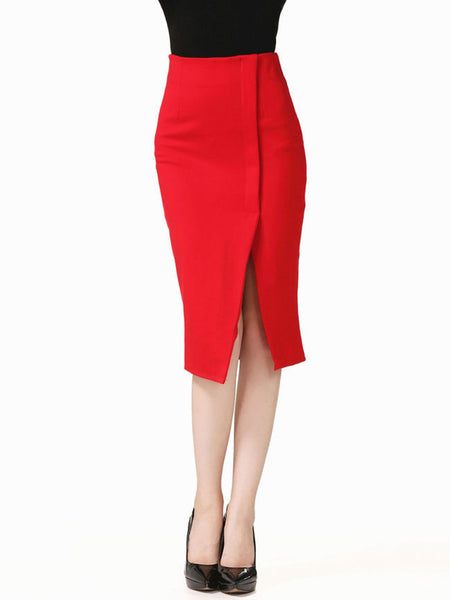 Charming Slit Solid Midi Skirt In Red - Bychicstyle.com