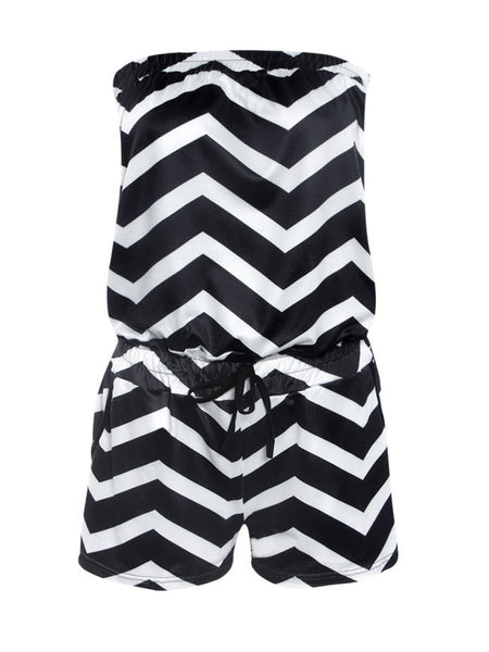 Strapless Pocket Zigzag Striped Romper - Bychicstyle.com