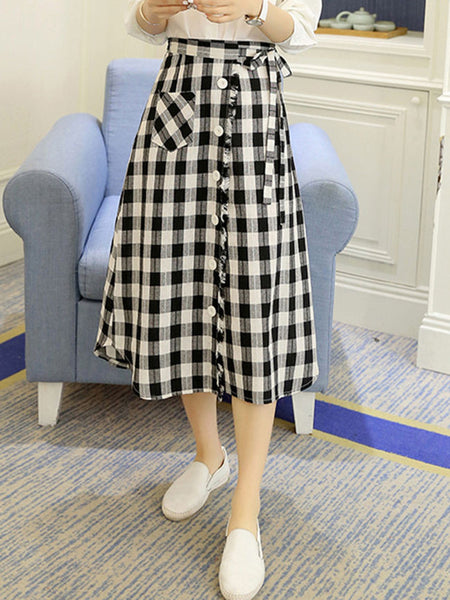 Patch Pocket Decorative Button Plaid Flared Midi Skirt - Bychicstyle.com