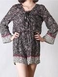 ByChicStyle V-Neck Elastic Waist Paisley Romper With Long Sleefe - Bychicstyle.com