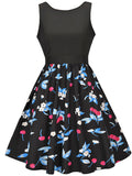 ByChicStyle Round Neck Cherry Printed Sleeveless Skater Dress - Bychicstyle.com