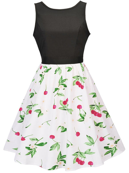 Round Neck Cherry Printed Sleeveless Skater Dress - Bychicstyle.com