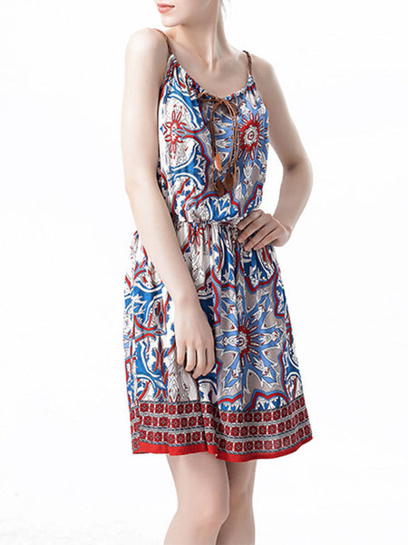 Spaghetti Strap Elastic Waist Skater Dress In Tribal Printed - Bychicstyle.com