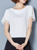 ByChicStyle Round Neck Hollow Out Plain Chiffon Blouse - Bychicstyle.com