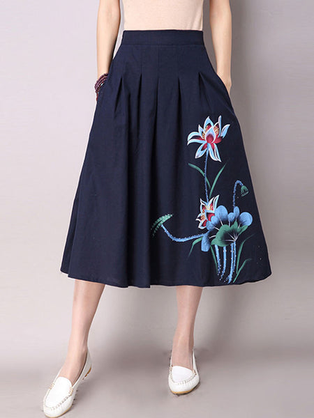 Casual Elastic Waist Pocket Printed Flared Maxi Skirt