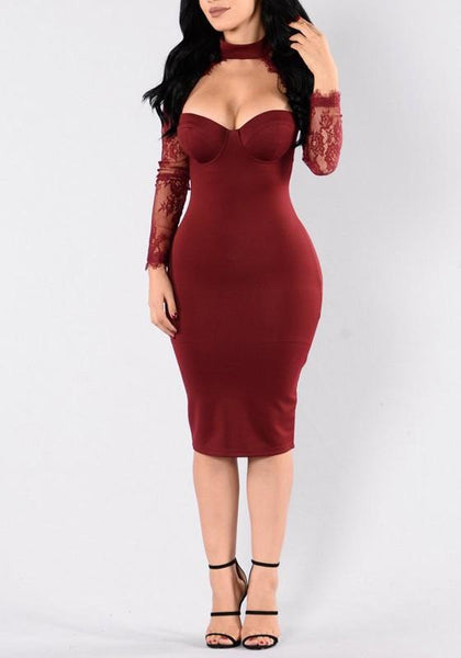 Red Patchwork Lace Cut Out Grenadine Bodycon Birthday Party Midi Dress