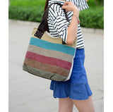 ByChicStyle Casual Women Retro Shoulder Bag Vintage Hitcolor Rainbow Handbag Clutches