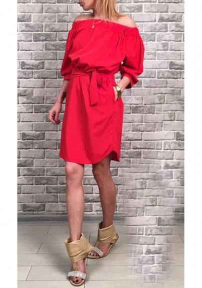 Casual New Women Red Boat Neck Off Shoulder Belt Fashion Mini Dress
