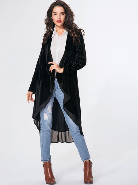 Collarless Plain Patchwork Flounce Coat - Bychicstyle.com
