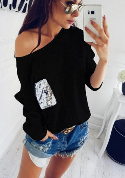 Black Plain Pocket Sequin Round Neck Casual Pullover Sweater
