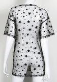 ByChicStyle Casual Black Galaxy Print Hollow-out Grenadine Round Neck Fashion Mini Dress