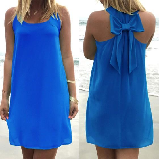 Casual Dark Blue Plain Bow Round Neck Sleeveless Mini Dress