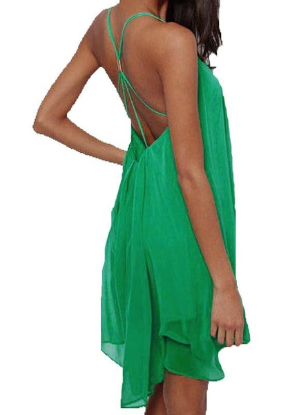 Casual Green Condole Belt Tie Back Swing Sleeveless Cocktail beach Polyester Dress