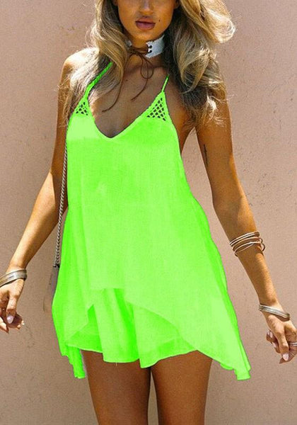 Casual Green Hollow-out Irregular Condole Belt Plunging Neckline Mini Dress