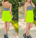 ByChicStyle Casual Green Patchwork Striped Pleated Bandeau Chiffon Mini Dress
