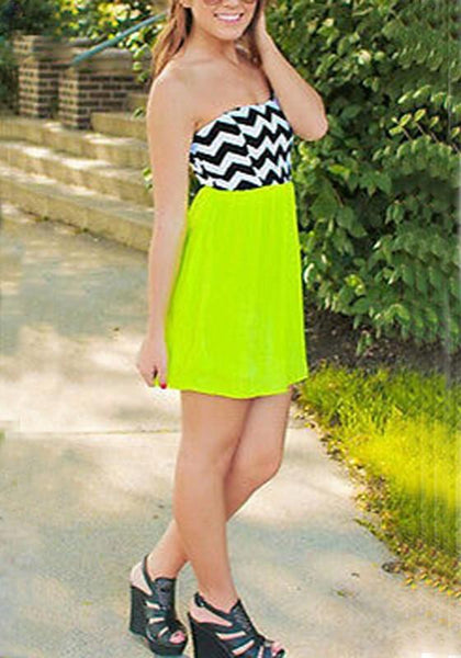 Casual Green Patchwork Striped Pleated Bandeau Chiffon Mini Dress