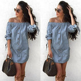 ByChicStyle Casual Light Blue Irregular Bandeau Off Shoulder Fashion Mini Dress