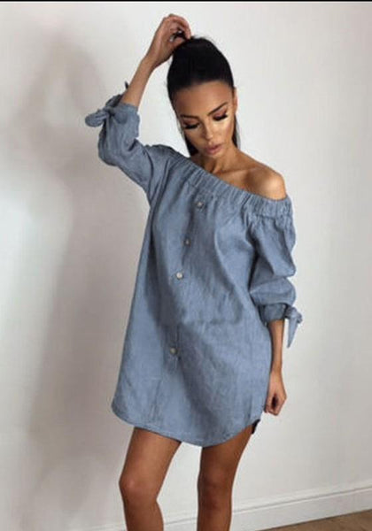 Casual Light Blue Irregular Bandeau Off Shoulder Fashion Mini Dress