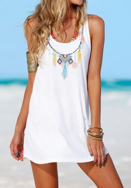 Casual White Floral Round Neck Sleeveless Casual Mini Dress