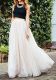 White Grenadine Elastic Waist Mid-rise Fluffy Puffy Tulle Long Skirt