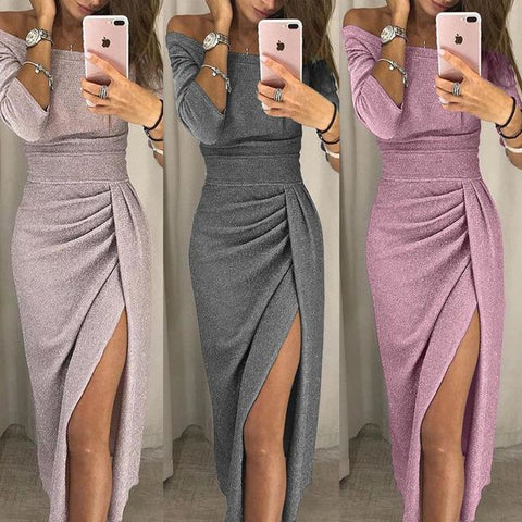 Sexy Bodycon Long Sleeve Off Shoulder Slim Sheath High Cut Split Party Dress