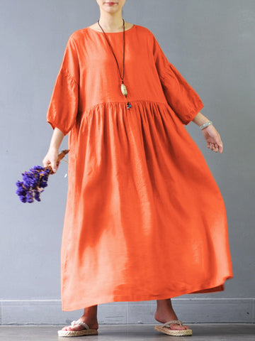 O-NEWE Vintage Solid Color O-Neck Maxi Dress For Women