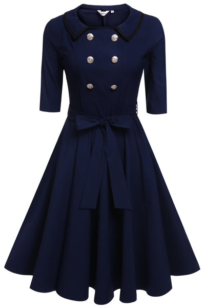 Blue Women Fashion Doll Collar 3/4 Sleeve High Waist Belted Solid Stretch Retro Evening Swing Casual Dresses