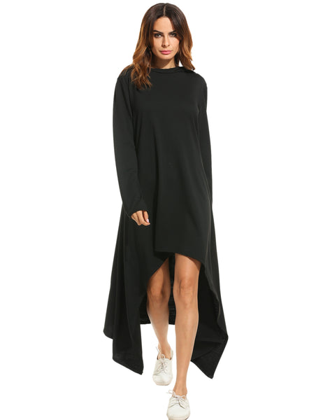 Black Hooded Asymmetrical Hem Loose Maxi Tunic Casual Dress