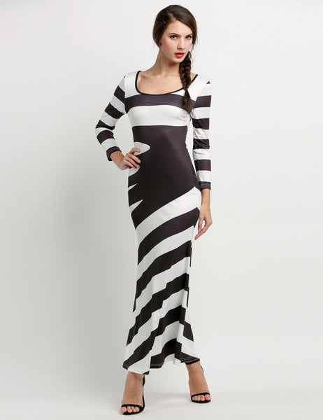 Black&White Fashion Sexy Women 3/4 Sleeve Stripe Maxi Long Full Casual Dresses