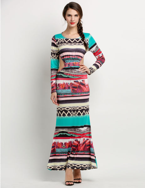 Colorful Bohemia Style Women Long Sleeve Cut Out Slim Fit Maxi Casual Dresses
