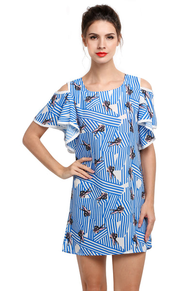 Blue Women Off the Shoulder Print Mini Casual Dresses