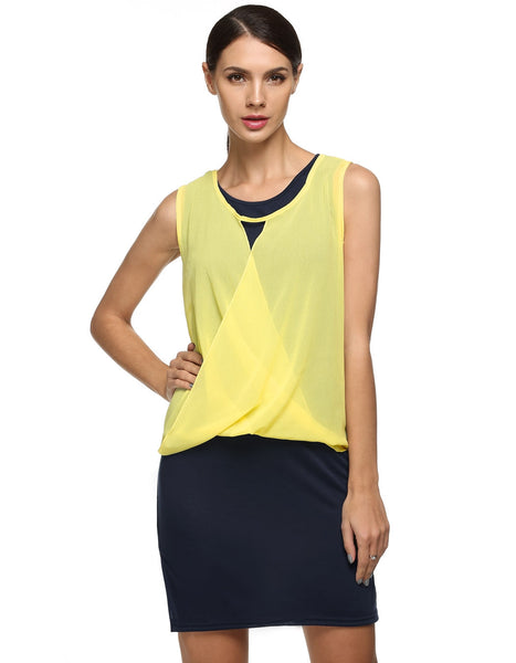 Yellow New Fashion Women's Lady Chiffon Tops + two Piece Set Sleeveless Casual Dresses