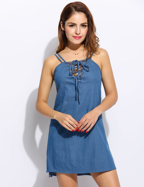 Women Cusaul Solid Front Lace-up Spaghetti Straps Denim A-Line Dress