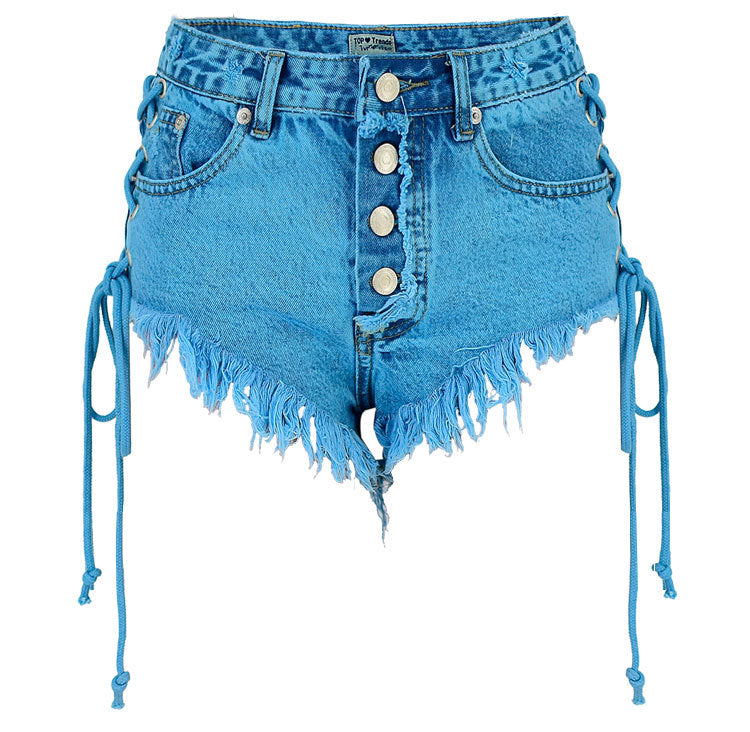 Side Lace Up High Waist Rough Edge Slim Shorts