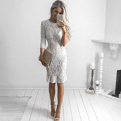 White Lace 1/2 Sleeve Perspective Short Bodycon Dress