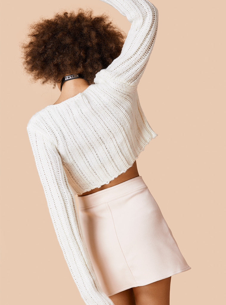 Sexy Long Sleeve Ribbed Crop Top Sweater