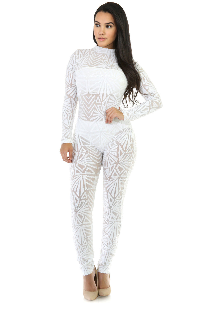 Sequins Long Sleeve High Neck See-Through Club Long Jumpsuit