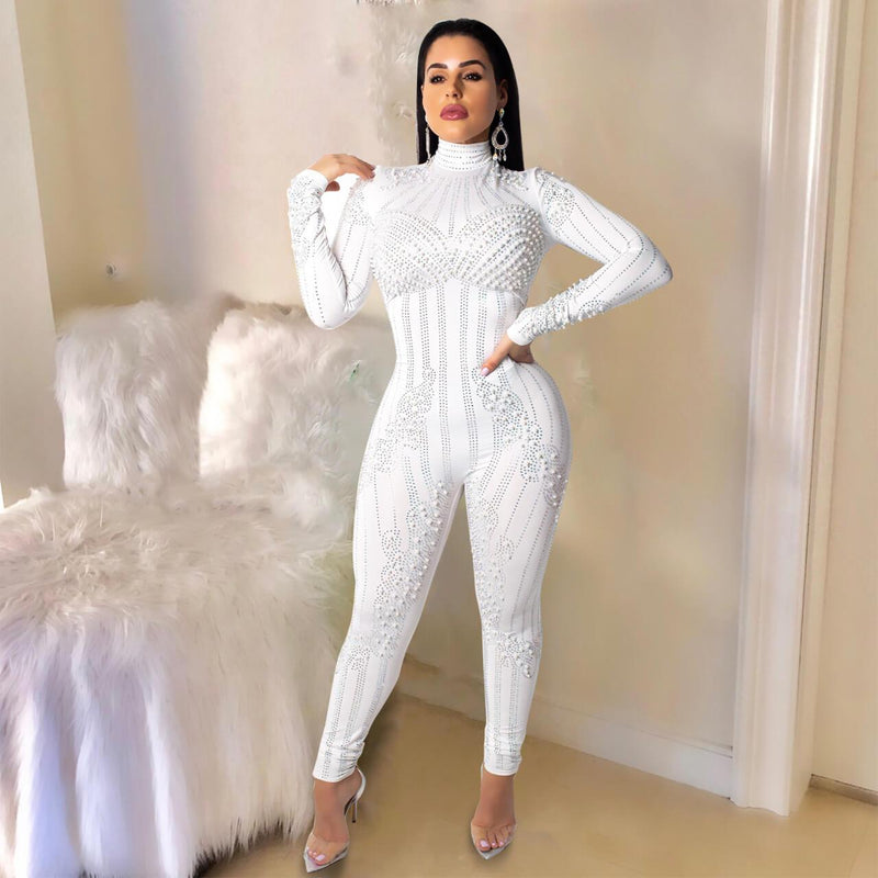 Womens Sexy Long Sleeve See Through Rhinestone Bodycon Jumpsuit with Pearl Decoration