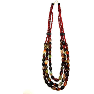 Multicolored Tribal Necklace made of Stone Onyx Beads