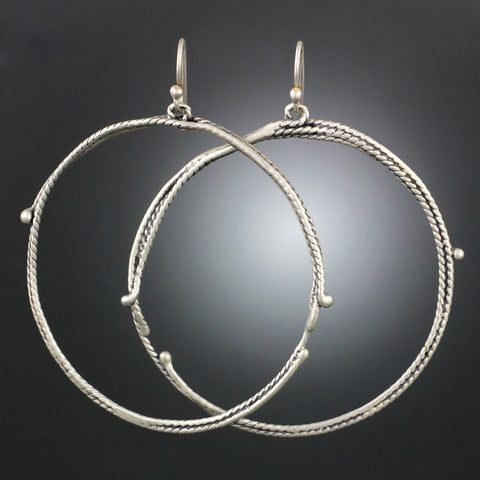Sterling Silver Large Textured Vine Hoop Earrings