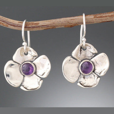 Sterling Silver & Amethyst Flower Earrings