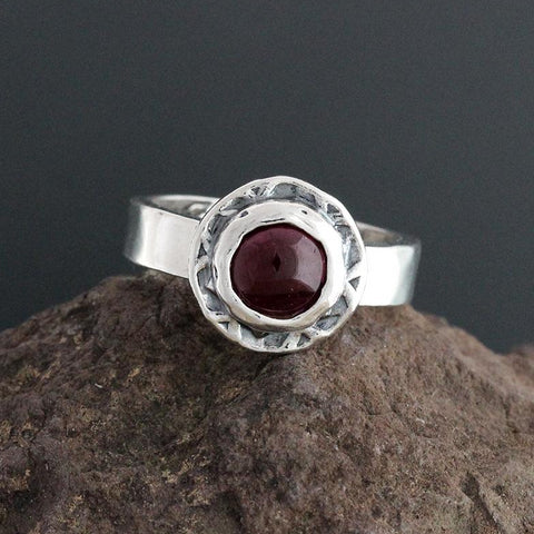 Sterling Silver and Garnet Cabochon Ring - Size 9 1/4