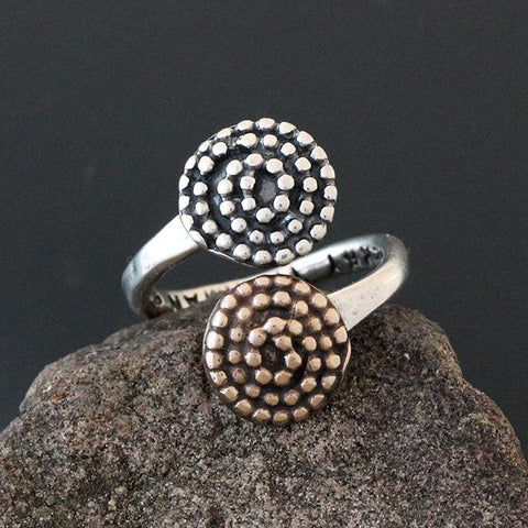 Sterling Silver & Bronze Beaded Spiral Flare Ring