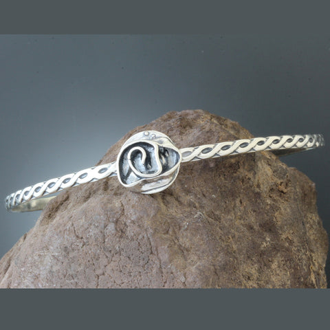 Sterling Silver Rope Adjustable Bangle with Rose